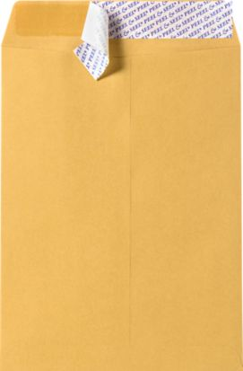 7 1/2 x 10 1/2 Open End Envelopes Brown Kraft w/ Peel & Seel®
