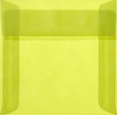 6 1/2 x 6 1/2 Square Envelopes Chartreuse Translucent