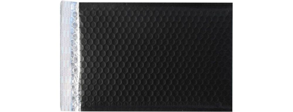 6 1/2 x 10 1/2 - LUX Matte Metallic Bubble Mailer Black