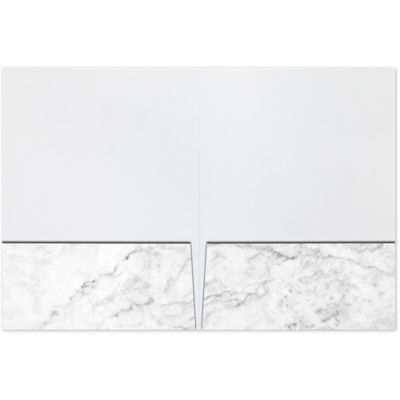 Quick Ship - Foil Stamped Folders White Marble