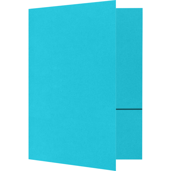 Quick Ship - Foil Stamped Folders Turquoise Blue
