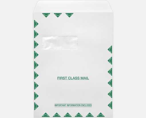 9 x 12 Open End Window Envelopes 28lb. White w/ Peel & Seel, First Class