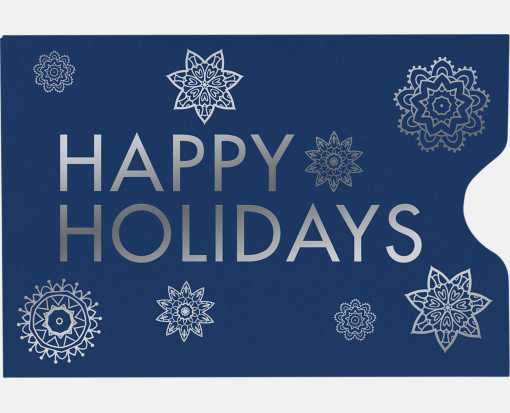Credit Card Sleeve (2 3/8 x 3 1/2) Happy Holidays on Navy