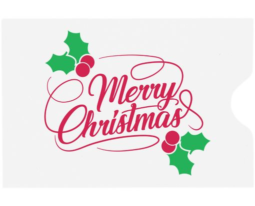 Credit Card Sleeve (2 3/8 x 3 1/2)  Merry Christmas on White
