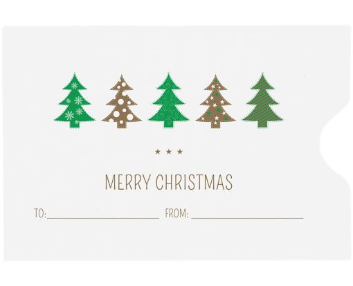 Credit Card Sleeve Envelopes (2 3/8 x 3 1/2) Christmas Trees