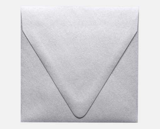 5 x 5 Square Contour Flap Envelopes Silver Metallic