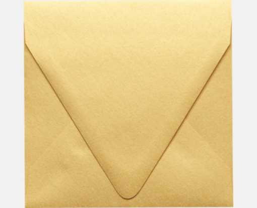 5 x 5 Square Contour Flap Envelopes Gold Metallic