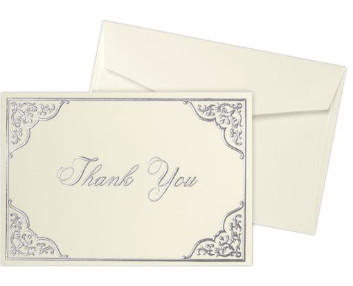 Envelope and Notecard Set - 50 Pack 100lb. Natural White - Silver Floral Thank You