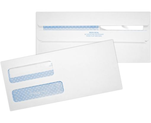 #9 Double Window Envelopes - Redi-Seal (3 7/8 x 8 7/8) 24lb. White w/ Security Tint