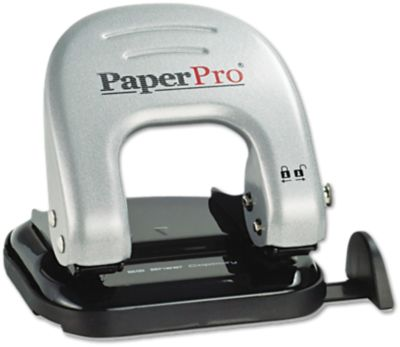 Indulge 2 Hole Puncher - 20 Sheet Capacity in Silver is a manual hole puncher designed to cleanly slice through up to 20 sheets of paper. ProPunch technology makes punching 50% easier. Built-in handle locks down for storage when not in use and clean up is easy with an internal chip compartment that empties through a rear door. All metal construction ensures long lasting performance.