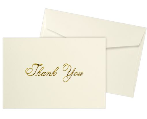 Envelope and Notecard Set - 50 Pack 100lb. Natural - Gold Thank You Text