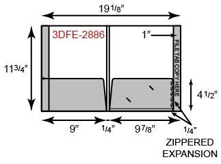 "2 Pocket with Flat Pocket, 1/4"" Expansion Pocket, Double Score Spine & File Tab"