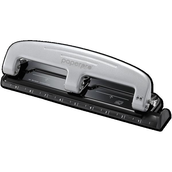 Inpress 3 Hole Puncher - 12 Sheet Capacity Silver