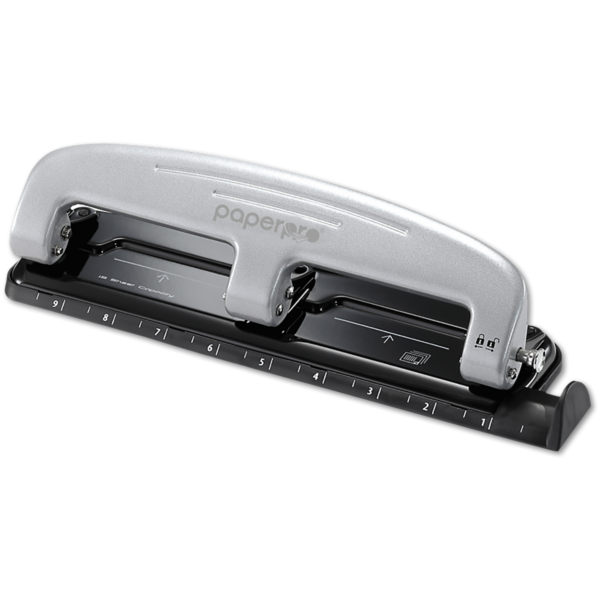 Inpress 3 Hole Puncher - 12 Sheet Capacity Silver