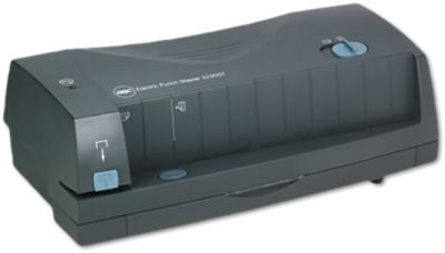 Adjustable Electric Hole Punch Stapler in Gray is an electric hole puncher designed to cleanly punch or staple up to 24 sheets of paper. Simple push button operation makes switching from 2 hole to 3 hole punch patterns easy. Paper alignment guide ensures perfect punching and accuracy.