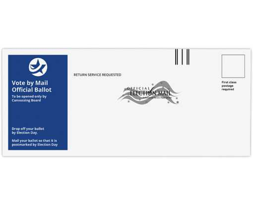 #10 Regular (4 1/8 x 9 1/2) Vote By Mail Envelope 24lb. White Wove - Blue