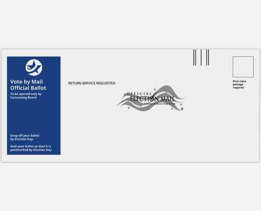 #12 Regular (4 3/4 x 11) Vote By Mail Envelope 24lb. White Wove - Blue