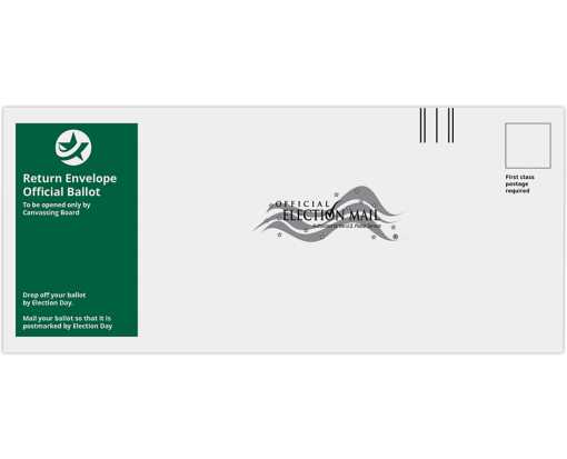 #12 Regular (4 3/4 x 11) Return Ballot Envelope 24lb. White Wove - Green