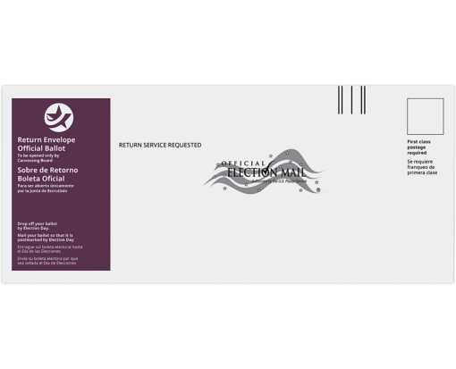 #12 Regular (4 3/4 x 11) Return Ballot Envelope - English & Spanish 24lb. White Wove - Burgundy