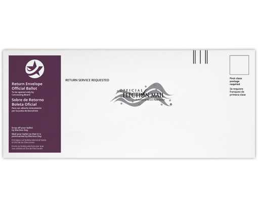 #14 Regular (5 x 11 1/2) Return Ballot Envelope - English & Spanish 24lb. White Wove - Burgundy