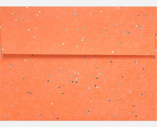 A7 Invitation Envelopes (5 1/4 x 7 1/4) Laser Orange w/ Silver Glitter