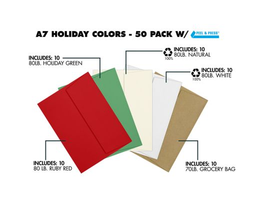 A7 Invitation Envelopes (5 1/4 x 7 1/4) - Holiday 50 Pack Assorted