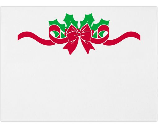 A7 Invitation Envelopes (5 1/4 x 7 1/4) Holly w/ Bow on White