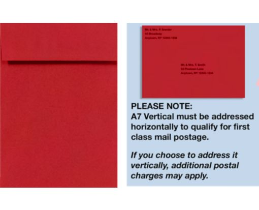 A7 Vertical Invitation Envelopes (7 1/4 x 5 1/4) Ruby Red