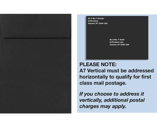 A7 Vertical Invitation Envelopes (7 1/4 x 5 1/4) Midnight Black