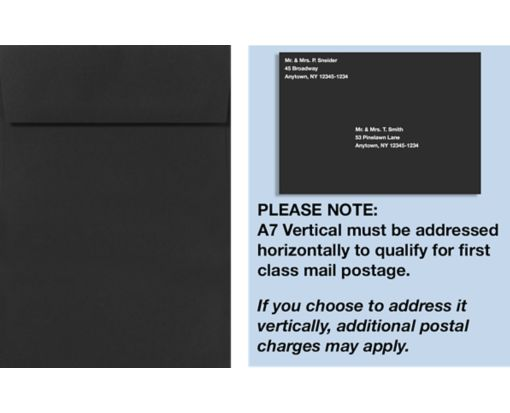 A7 Vertical Invitation Envelopes (7 1/4 x 5 1/4) Black Linen