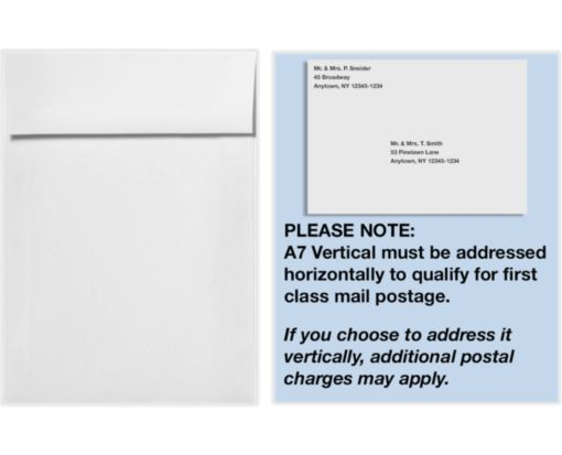 A7 Vertical Invitation Envelopes (7 1/4 x 5 1/4) Natural White - 100% Cotton