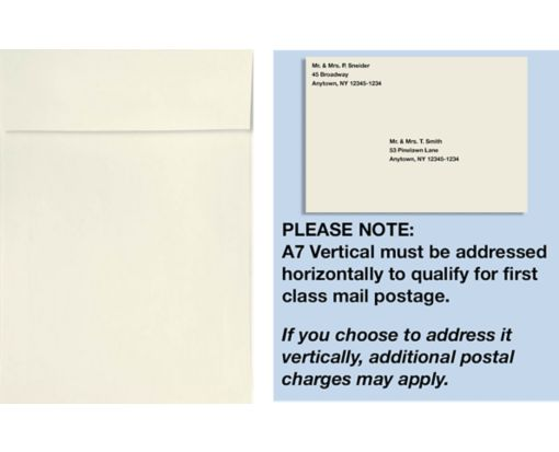 A7 Vertical Invitation Envelopes (7 1/4 x 5 1/4) White - 100% Cotton