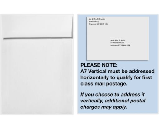 A7 Vertical Invitation Envelopes (7 1/4 x 5 1/4) 70lb. Bright White