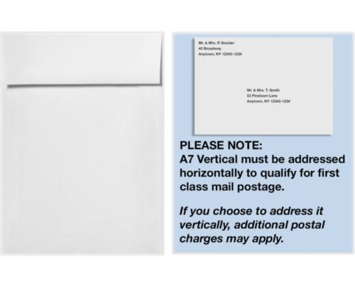 A7 Vertical Invitation Envelopes (7 1/4 x 5 1/4) White Linen