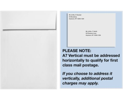 A7 Vertical Invitation Envelopes (7 1/4 x 5 1/4) White - 100% Recycled