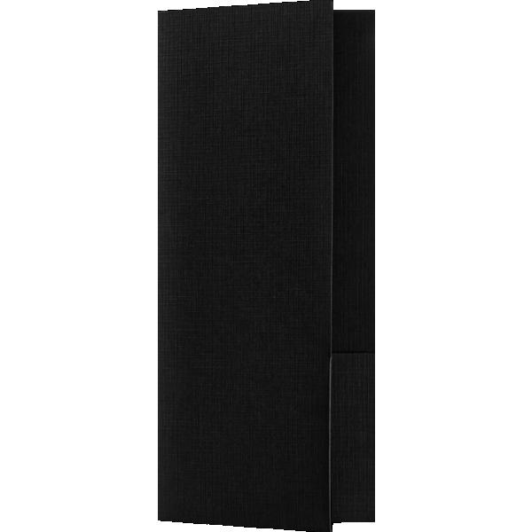 4 x 9 Mini Folders - Two Pockets Black Linen