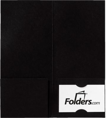4 x 9 Mini Folders - Two Pockets Black Linen