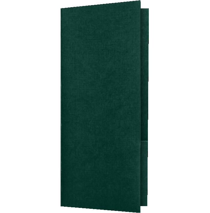 4 x 9 Mini Folders - Two Pockets Green Linen