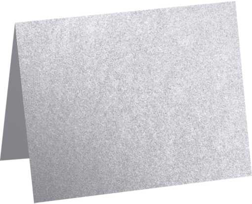 A1 Folded Card (3 1/2 x 4 7/8) Silver Metallic