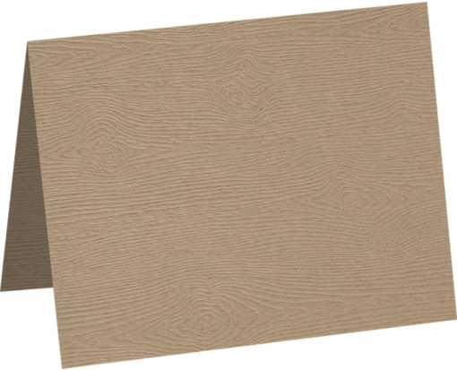 A6 Folded Card Oak Woodgrain