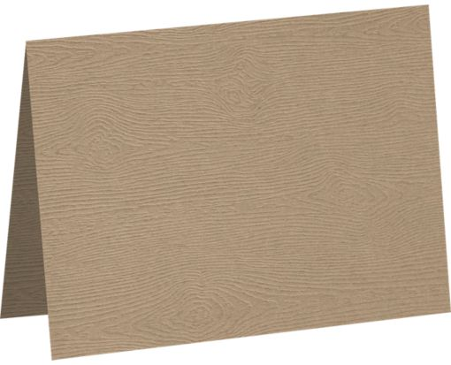 A7 Folded Card Oak Woodgrain
