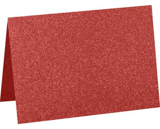 A7 Folded Card (5 1/8 x 7 ) Holiday Red Sparkle