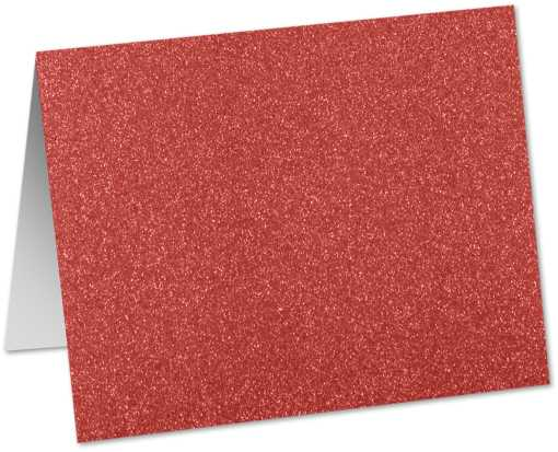 A9 Folded Card (5 1/2 x 8 1/2) Holiday Red Sparkle