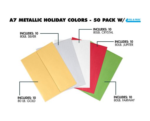 A7 Invitation Envelopes (5 1/4 x 7 1/4) - Metallic Holiday 50 Pack Assorted
