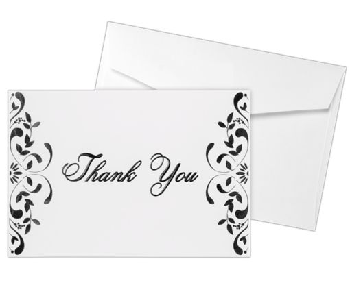 Envelope and Notecard Set - 50 Pack 100lb. Bright White - Black Floral Thank You