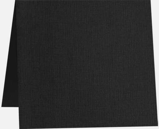 6 1/4 x 6 1/4 Square Folded Card Black Linen