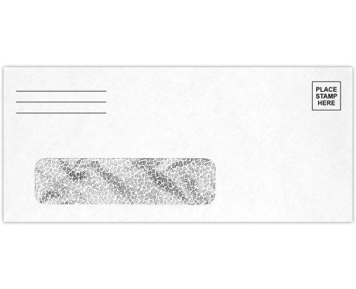 #9 Window Envelopes (3 7/8 x 8 7/8) - Place Stamp Here White w/Security Tint - Stamp