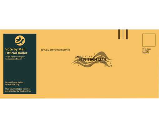 #12 Regular (4 3/4 x 11) Vote By Mail Envelope Brown Kraft - Blue