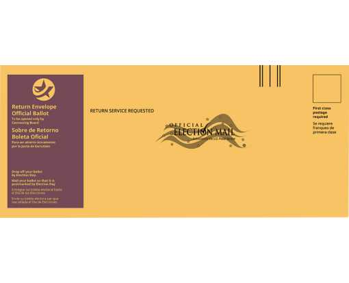 #12 Regular (4 3/4 x 11) Return Ballot Envelope - English & Spanish Brown Kraft - Burgundy