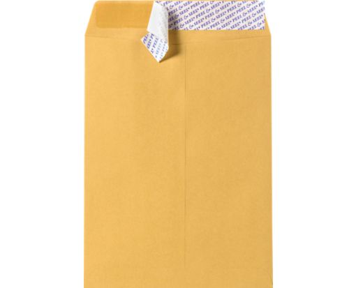 12 x 15 1/2 Open End Envelopes 28lb. Brown Kraft w/ Peel & Seel